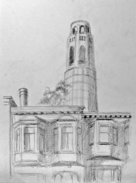 Coit Tower drawing 2, Bruckner 06