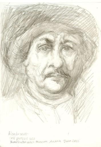 Rembrandt self-portrait, Vienna2015