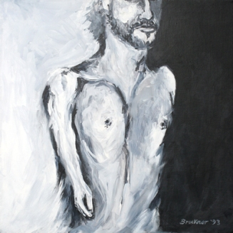 Self-portrait, 24 x24, acrylic, c.1993